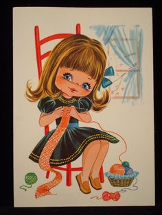 1960s girl knitting postcard by ZouBisouBisou on Etsy, $5.00