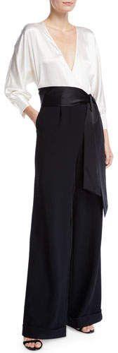 Marle Tie-Front Wide-Leg Jumpsuit #button#sleeves#Long Maxi Wrap Dress, Sheath Dress, Wide Leg, Rebecca Miller, Wrap Shirt, Leather Lace Up Boots, Long Ties, Silk Chiffon, Diane Von Furstenberg