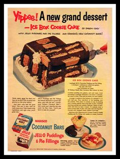 1953 Jello & Nabisco Ad - Cocoanut - Coconut Bars - Cookies - Pudding - Wall Art - Kitchen Decor - Retro Vintage Food Advertising ad advert advertisement snowfirecandleco paper ephemera for him for her illustration cartoon cake USD Retro Recipes, Old Recipes, Vintage Recipes, Cake Recipes, Dessert Recipes, Cooking Recipes, 1950s Recipes, Cooking Ideas, Vintage Cooking