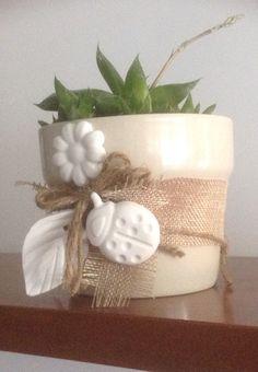 vaso in ceramica decorato con gessetti e piantina grassa