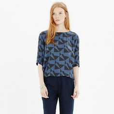 With Won Hundred, Copenhagen-based designer Nikolaj Nielsen has created a minimalist's dream: sharp, forward-thinking, menswear-influenced silhouettes. Take this geometric print top with its keyhole back, for example, it's sure to make any outfit cooler. <ul><li>True to size.</li><li>Viscose.</li><li>Dry clean.</li><li>Import.</li><li>Madewell.com only.</li></ul>