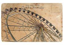 Um cartão velho com uma roda de Ferris grande. Imagem de Stock Royalty Free
