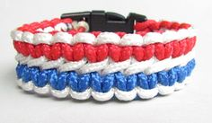 Handmade Red White and Blue ParaCord Bracelet by Harleypaws, $10.00