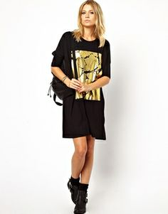 Image 4 of ASOS T-Shirt Dress With Cracked Foil Print
