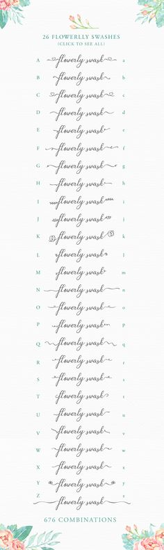 Flowerlly Typeface with Swashes by fontgirl on Creative Market