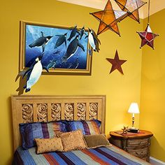 SWORNA Animal Series 3D Penguin in Blue Sea Removable Vinyl DIY Wall Mural Decal Stickers for Kids/Baby/Children's Bedroom Playroom Living Room Kids Nursery Kindergarten Classroom Hallway 25'H X 31'W *** New offers awaiting you  : Nursery Decor