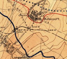 """Bullecourt By 8 April 1917 the two front lines were as shown above. The red marks the forward system of the Hindenburg Line, snaking around the """"front """"of Bullecourt; the dark blue is the British front. British Army, Journalling, World War I, Me On A Map, Maps, Dark Blue, France, History, Red"""