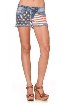 Miss Me American Flag with Front AllOver Sequins Short Light Blue 28 * Learn more by visiting the image link.