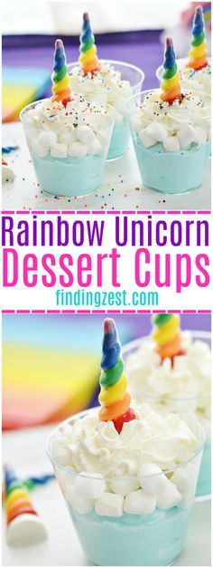 Unicorns and rainbows is killer combination, especially for a unicorn party! These fun rainbow unicorn dessert cups feature blue mousse, marshmallows, whipped cream and sprinkles. The star of this dessert are the chocolate rainbow unicorn horns! I'll show you how to make them for a fun unicorn party dessert. #rainbow #unicornparty #unicorn #dessert #dessertrecipes #mousse #marshmallows #kidsparty #sprinkles #birthdayparty #kidfriendly #foodblogger