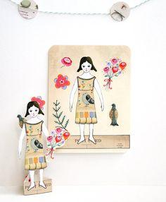 Muñeca de papel lirio Set de 3 postales por LilyMoon en Etsy