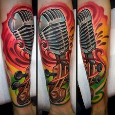 Microphone Tattoo With Bright Colors Guys Forearms