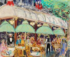 """huariqueje: """" Cafe de la Paix, Evening - Maurice Empi French, Oil on canvas, 19 x 15 in. Spanish Artists, French Artists, Building Art, Maurice, Figure Painting, Landscape Paintings, Landscapes, Cool Artwork, Contemporary Artists"""