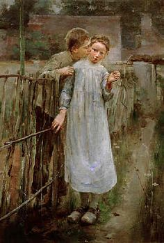 """Theodore Robinson--""""First Kiss"""" Impressionist Artists, Impressionist Landscape, Theodore Robinson, Muse, Horse Hay, Art Connection, American Impressionism, Old Images, Couple Art"""