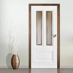 Peony Door Silkscreen Obscure Safety Glass with Clear Borders. Internal Doors, Glass Door, White Doors, Doors Interior, White Glass, Glass, Paneling, Safety Glass, Elegant Doors