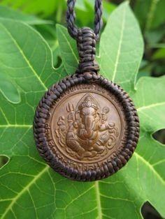 Ganesha Amulet set in a handmade macrame necklace - Unisex yoga jewelry, Buddhist, Jainist, Hindu