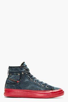 Diesel Blue Denim Contrast Sole Exposure High-top Sneakers for men   SSENSE