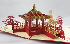 Chiness Pavilon Handmade Kirigami & Origami 3D Pop UP Greeting