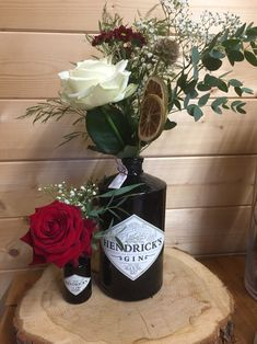 Hendricks Gin bottles are a great way of upcycling and getting the most out of your spirits Wedding Mood Board, Wedding Pins, Wedding Flowers, Bottle Centerpieces, Wedding Table Centerpieces, Flower Decorations, Table Decorations, Plant Table, Gin Bottles