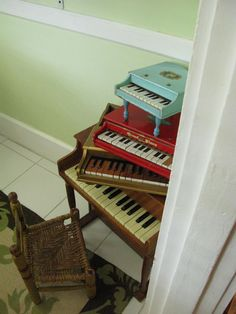 mini pianos ~ I had a little red piano like the one above....Wish I still had it... oh well... can't save everything.....bb