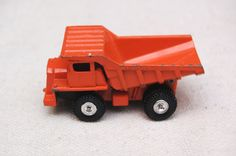 Vintage Tomica No. 59 Hitatchi Dump Truck DH321, Orange, made in Japan, by Tomy, Miniature Die-cast Toy Car, by RememberWhenToys on Etsy