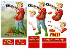 Clay Pigeon Shooting Dude on Craftsuprint designed by Gordon Fraser - Out for a nice days shooting this Dude looks the part! Easy to make decoupage with sentiment and blank tiles. - Now available for download!