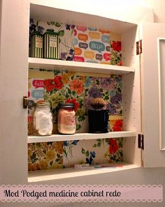 Mod Podge medicine cabinet re-do.... In the nasty master bath med cabinet... Doing this today