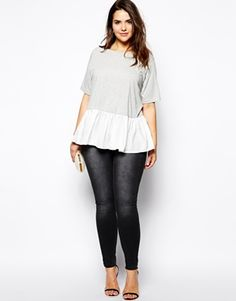 Image 4 of ASOS CURVE Exclusive Oversized Top With Woven Peplum Hem