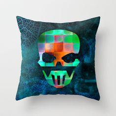 CHECKED DESIGN II - SKULL Throw Pillow by Pia Schneider [atelier COLOUR-VISION] - $20.00 #skull #skullshape #geometric #squares #design #diamonds #pattern #mixedmedia #checked #colourful #karo #horror #collage #abstract #textures #piaschneider #ateliercolourvision #blue #green #orange #pillow #throwpillow #home #decor #modern #gift