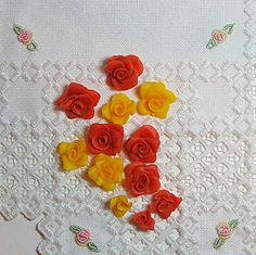 HandmadeRosesColdPorcelainClayYellowSalmonCoralRoses by CheriesPottery, $12.00