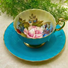 Beautiful & Vintage Blue Teacup by Aynsley England