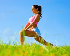 Athletic Woman Exercising (adult, alone, athlete, athletic, attractive…