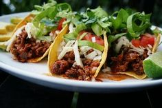 Spicy Beef & Chorizo #Tacos w/ Homemade Crispy Baked Tortilla Shells