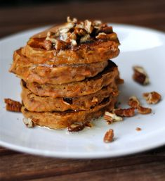 Carrot cake waffles with brown butter and pecans.
