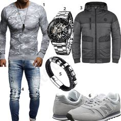 Cooler Herren-Style mit Leif Nelson Camouflage Pullover, Alienwork Automatikuhr, Blend Steppjacke, Leif Nelson Jeans, Halukakah Armband und hellgrauen New Balance Sneakern. Source by clothes Winter Fashion Outfits, Look Fashion, Fashion Boots, Autumn Fashion, Casual Outfits, Raw Clothing, Mens Clothing Styles, Mens Casual Suits, Mode Man
