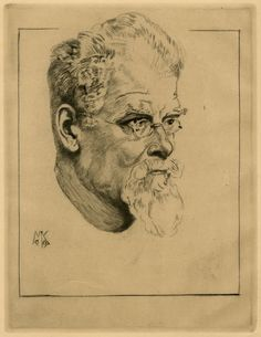 Self-Portrait with Glasses (Selbstbildnis mit Brille) by Max Klinger   (1857 - 1920), 1909--etching