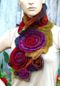 Crochet Scarf Roses Capelet Neck Warmer Freeform crochet Blue Green Purple Red rainbow Womens scarf, Freeform Crochet scarf/gift