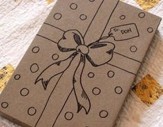 Draw ribbons, bows, and gift tag directly on the box.