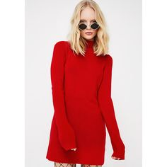 Open Back Sweater Dress ($38) ❤ liked on Polyvore featuring dresses, red, red open back dress, turtleneck dress, sweater dress, open back sweater dress and red turtleneck top