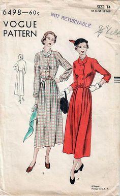 1940s Vogue 6498 Vintage Sewing Pattern Misses Shirtwaist