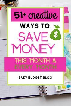 51 Creative Ways to Save Money This Month Easy Budget Money Saving Challenge, Money Saving Tips, Money Tips, Saving Ideas, Save Money On Groceries, Ways To Save Money, Christmas Savings Plan, Savings Chart, Easy Budget