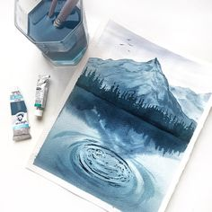 j a z l y n n o v e l l i - Aquarell - Art Sketches Blue Painting, Painting & Drawing, Drawing Tips, Drawing Ideas, Deep Drawing, Painting Inspiration, Art Inspo, Art Sketches, Art Drawings
