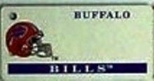 """This is an NFL Buffalo Bills Team License Plate Key Chain or Tag. An excellent and affordable gift for an avid NFL fan! The key chain is available with engraving or without engraving. It is a standard key chain made of durable plastic and size is approximately 1.13"""" x 2.25"""" and 1/16"""" thick."""