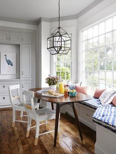 HGTV - kitchens - Suzanne Kasler Morris Pendant, gray cabinets, gray dining banquette window seat,