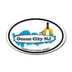 Ocean City NJ - Surf Design. Decal on CafePress.com