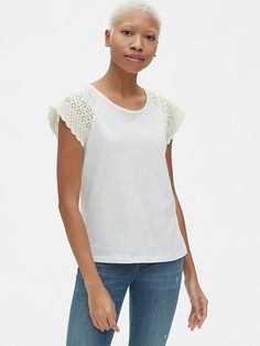 936c06a9205366 Eyelet Embroidered Flutter Sleeve Top in Chambray in 2019 | Products ...