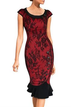 Elegant Scoop Neck Cap Sleeve Floral Print Buttoned Women's Mermaid Dress