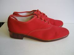 1980s new wave red shoes oxfords size 11 Padrino by edgertor