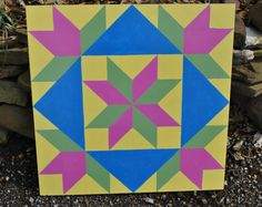May Flowers - 2' x 2' Barn quilt square painted on wood