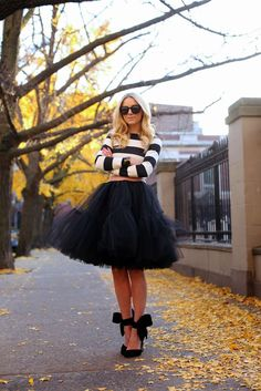 striped top with tulle skirt