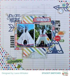 """Layout by Laura Whiteaker uses """"Travelin' On"""" and """"Happy Camper"""" cut files from The Cut Shoppe."""